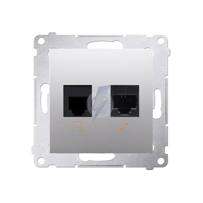 Gniazdo komputerowe RJ45 kategoria 5e + telefoniczne RJ12 (moduł) srebrny mat, metalizowany