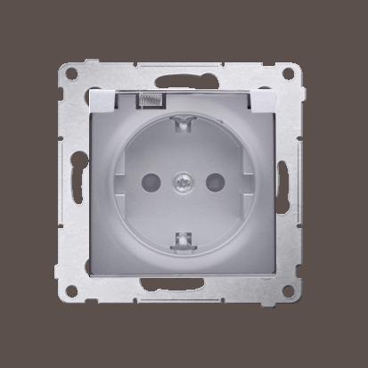 Gniazdo wtyczkowe pojedyncze do wersji IP44 z uziemieniem typu Schuko z przesłonami torów prądowych - z uszczelką ramki - klapka