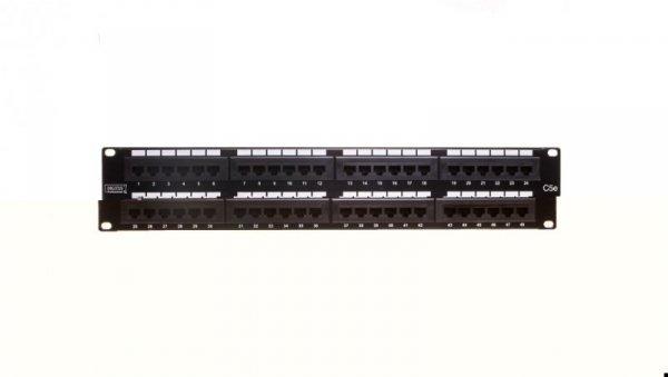 Patch panel kompletny 19 cali 48x RJ45 U/UTP kat. 5e 2U czarny (RAL 9005) DN-91548U