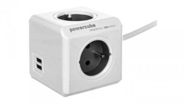 Rozgałęźnik PowerCube z 4-krotnym gniazdem E/FR i 2xUSB 5V 2,1A 1,5m szary 2402/FREUPC