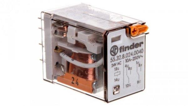 Przekaźnik miniaturowy 2P 10A 24V AC przycisk testujący mechaniczny wskaźnik zadziałania 55.32.8.024.0040