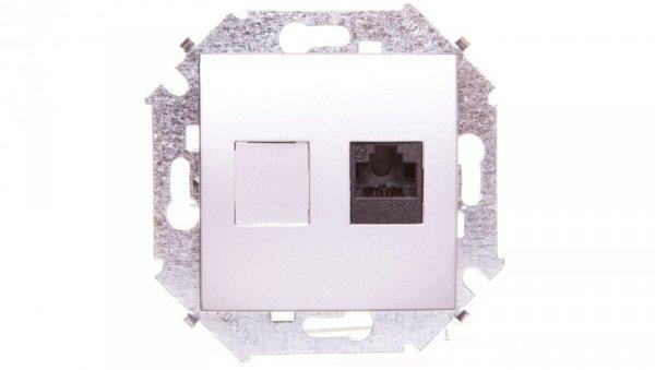 Simon 15 Gniazdo komputerowe RJ45 pojedyncze kategoria 5e (moduł), aluminium (met.) 1591551-026
