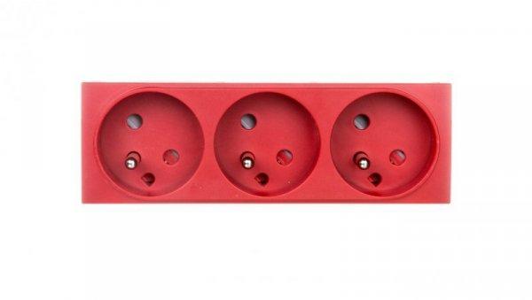 Systo Gniazdo potrójne z/u 16A DATA 6 modułów czerwone WS133