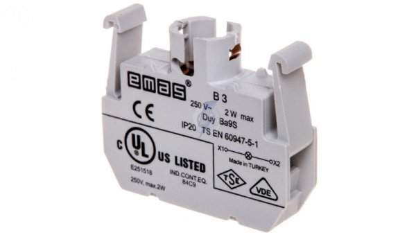 Oprawka lampki żarówka BA9s 230V AC bez lampki T0-B3