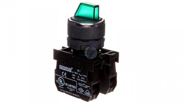 Przycisk pokrętny 3 położeniowy 2R stabilny podświetlany 100-250V zielony T0-B101SL30Y