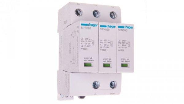 Ogranicznik przepięć B+C Typ 1+2 3P 12,5kA 275V 1,5kV ze stykiem sygnalizacyjnym SPN900R