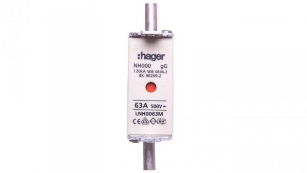Wkładka bezpiecznikowa NH000 63A 500V gG LNH0063M