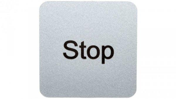 Etykieta opisowa samoprzylepna do kaset 22x22mm srebrna /STOP/ Sirius ACT 3SU1900-0AF81-0DS0
