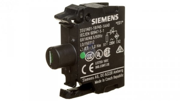 Oprawka z LED zielona 230V AC montaż czołowy Sirius ACT 3SU1401-1BF40-1AA0