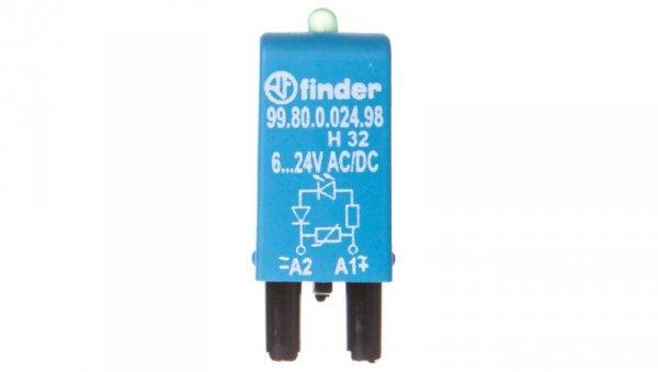 Moduł sygnalizacyjny LED zielony + warystor 6-24V AC/DC 99.80.0.024.98
