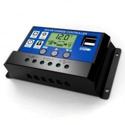 Kontroler solarny PWM - 30A 12/24V - wyświetlacz LCD - 2x gniazdo US