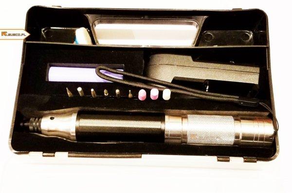 MICROROTARYTOOL Aluminiowa wiertarko-szlifierka AKUMULATOROWA LI-ION 18650 w walizce 0,3-3,5mm uchwyt zaciskowy , walizka, akumulatory