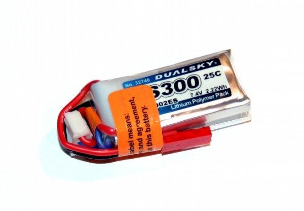 Akumulator Li-Po Dualsky 300mAh 25C 2S1P 7.4V