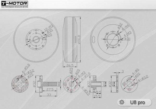 Silnik bezszczotkowy T-MOTOR U8 Pro 135kV