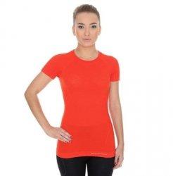 BRUBECK koszulka ACTIVE WOOL damska ceglasty