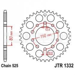 Zębatka tylna stalowa JT 1332-37, 37Z, rozmiar 525 2302265 Honda XRV 750