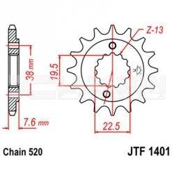 Zębatka przednia JT F1401-14, 14Z, rozmiar 520 2201062 Suzuki LT-Z 400