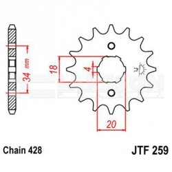 Zębatka przednia JT F259-12, 12Z, rozmiar 428 2201041 Honda XL 185, Daelim VL 125