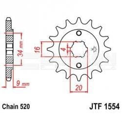Zębatka przednia JT 50-32077-14 (jtf 1554.14), 14Z, rozmiar 520 2201047 Yamaha YFS 200
