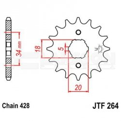 Zębatka przednia JT F264-15, 15Z, rozmiar 428 2201020 Kymco Pulsar 125