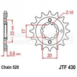 Zębatka przednia JT F430-13, 13Z, rozmiar 520 2201023 Suzuki GSX 250