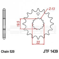 Zębatka przednia JT F1439-11, 11Z, rozmiar 520 2201035 Suzuki LT-F 160