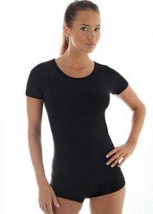Brubeck SS11020 Koszulka damska z krótkim rękawem COMFORT WOOL czarny