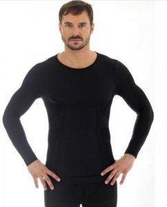 Brubeck LS11600 Koszulka męska z długim rękawem COMFORT WOOL czarny