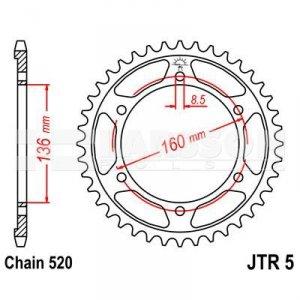 JT Zębatka tylna stalowa JT R5-45 45Z rozmiar 520