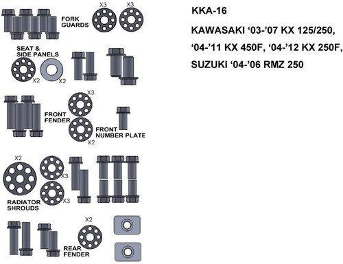 KEITI  KKA-16 ZESTAW ŚRUB KAWASAKI 03-07 KX 125/2