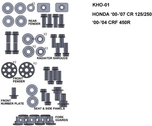 ZESTAW ŚRUB KEITI HONDA CR125/250 00-04 CRF450R