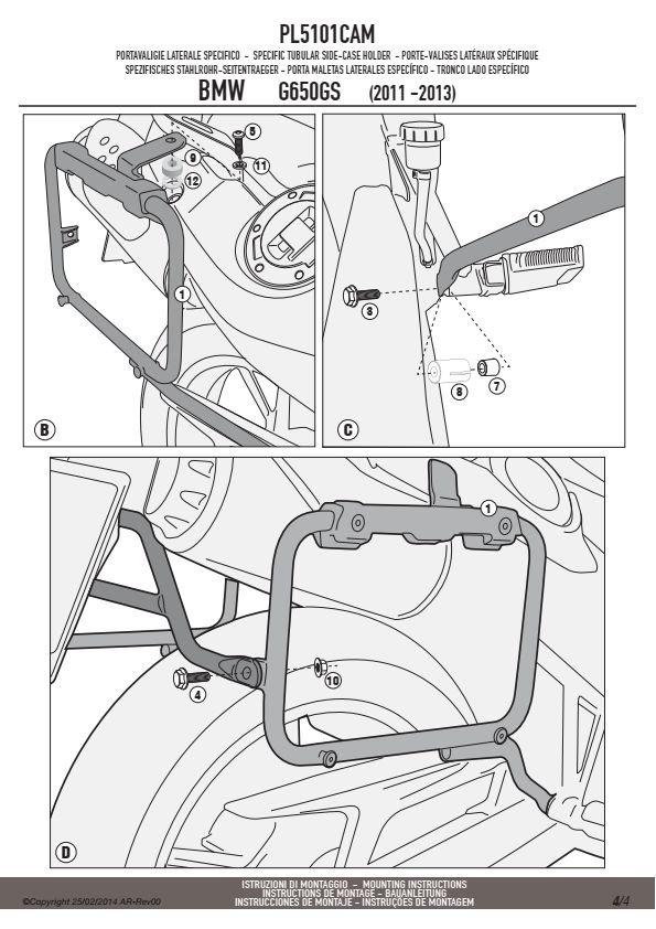 GIVI PL5101CAM STELAŻ KUFRÓW BOCZNYCH OUTBACK BMW G 650