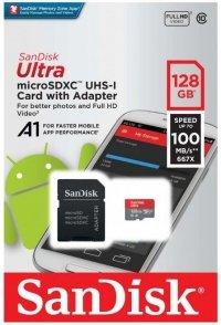 Karta pamięci MicroSDXC SanDisk ULTRA ANDROID 128GB 100MB/s A1 Class 10 UHS-I + adapter