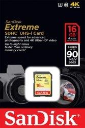 Karta pamięci SDHC SanDisk Extreme 16GB 90MB/s Class 10 UHS-I U3