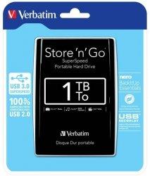 Verbatim dysk zewnętrzny Store 'n' Go 2.5'', 1TB, USB 3.0, Czarny