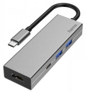 Hub USB Hama multiport USB-C 2xUSB-A 3.2, 1xTYP-C, 1xHDMI