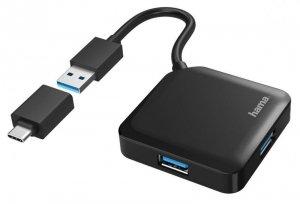 Hub USB Hama USB 3.0 4X USB-A + adapter USB-C