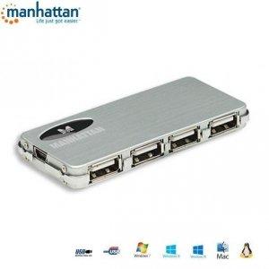 Hub USB Manhattan 4 porty 2.0 Slim+Zasilacz