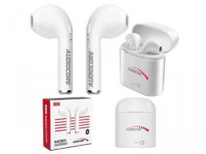 Słuchawki z mikrofonem Audiocore AC515 bliźniacze douszne Bluetooth + stacja/Powerbank mini białe TWS 5.0