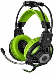 Słuchawki z mikrofonem Defender LESTER podświetlane USB Gaming + GRA czarno-zielone