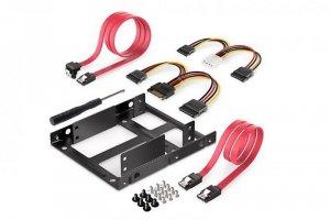 Ramka montażowa DIGITUS SSD/HDD 2x 2.5 do 3.5 (ATA/SATA) komplet kabli czarna