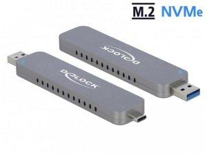 Obudowa na dysk Delock M.2 NVME USB type-C 3.1/USB-A Gen 2 srebrna