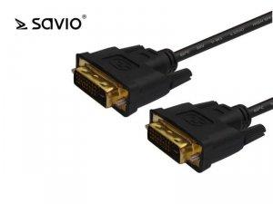 Kabel DVI DM – DVI DM 24+1 dual link Savio CL-31 1,8m Black
