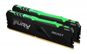 Pamięć DDR4 Kingston Fury Beast RGB 16GB (2x8GB) 2666MHz CL16 1,2V czarna