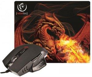 Mysz przewodowa Rebeltec optyczna Gaming + podkładka Rebeltec RED DRAGON USB