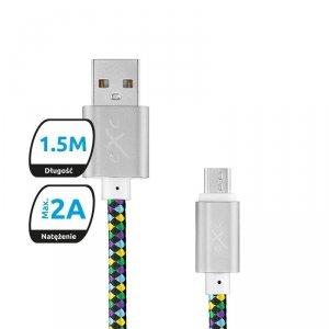 Kabel USB 2.0 eXc DIAMOND USB A(M) - micro USB B(M) 5-pin, 1,5m, czarny-multi