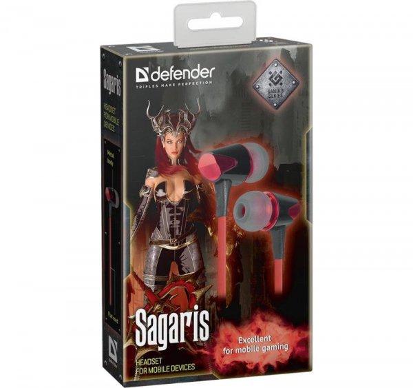 Słuchawki z mikrofonem Defender SAGARIS douszne gaming czarno-czerwone