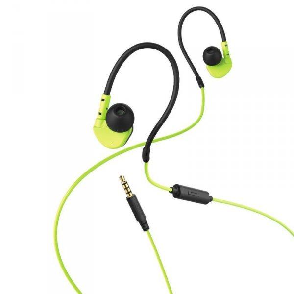 """Słuchawki z mikrofonem Hama """"Active"""" dokanałowe czarno-zielone"""