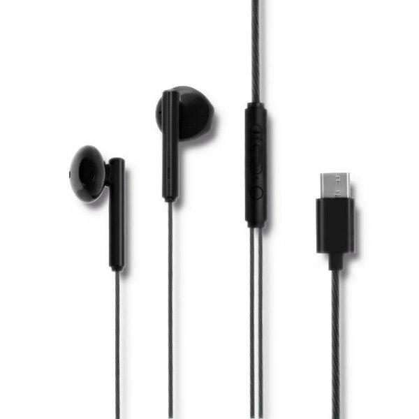 Słuchawki z mikrofonem Qoltec douszne   USB-C   czarne
