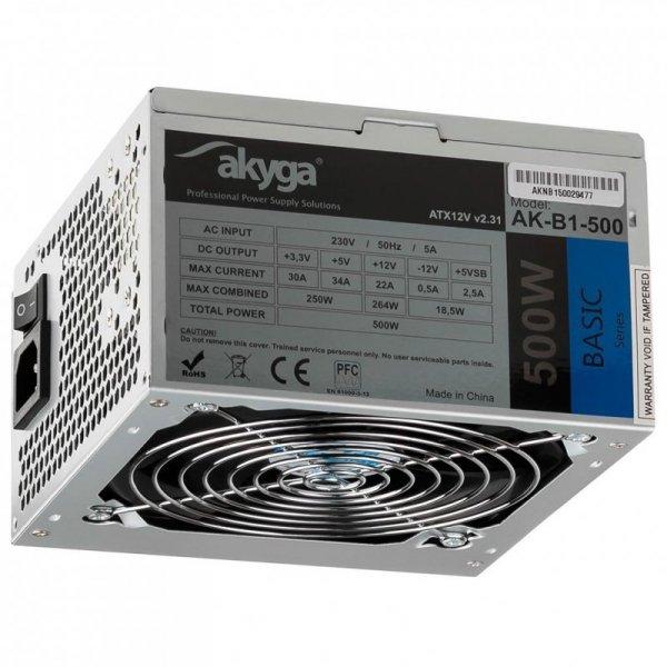 Zasilacz ATX 500W Akyga Basic AK-B1-500 Fan12cm P4 3xSATA PCI-E